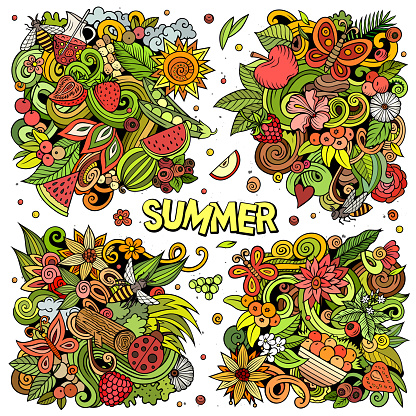 Summer nature cartoon vector doodle designs set.