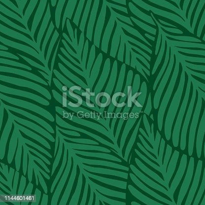 Summer nature jungle seamless print. Exotic plant. Tropical pattern, palm leaves seamless vector floral background.