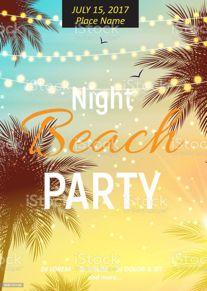 Ilustración de Cartel Fiesta Verano Playa Noche W Fondo Natural ...