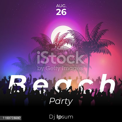 Summer night beach party poster with crowd design