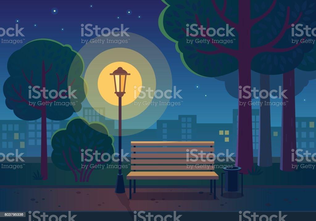 Summer night in the park. vector art illustration