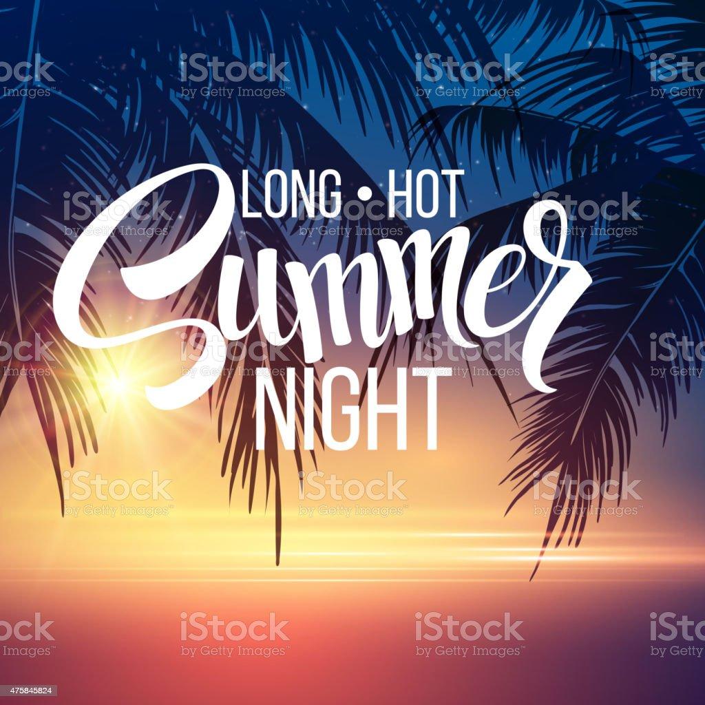 Summer Night. Palm trees  in the night. Vector illustration vector art illustration