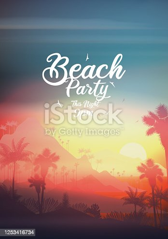 istock Summer night party poster design 1253416734