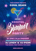 Summer Night Cocktail party poster design with silhouettes of the palm leaves, and neon sign of cocktail. Calligraphic inscription 'Summer'. Sunset at the seaside on background. Vector illustration.