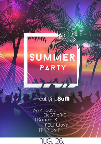 stockillustraties, clipart, cartoons en iconen met zomer nacht partij poster met menigte ontwerp - strandfeest
