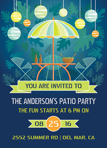 Summer Night Patio Party Retro patio furniture with hanging lanterns, banners and tropical leaf background. patio stock illustrations