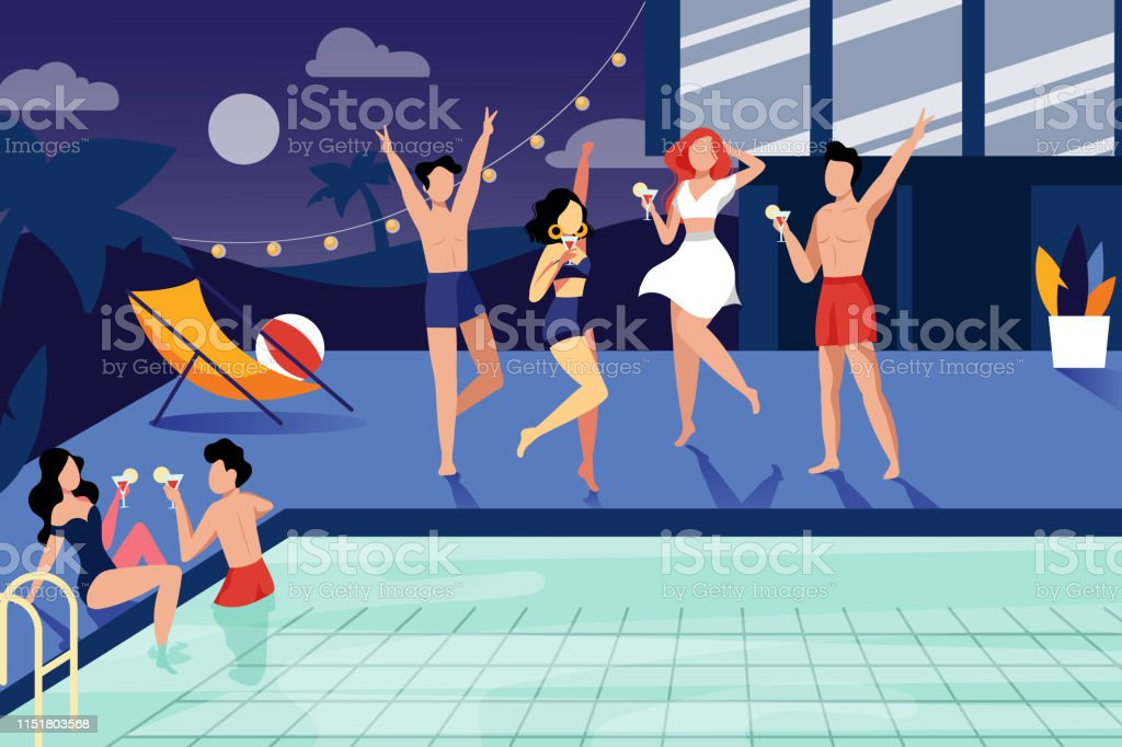 Summer night pool party. Happy young people have a rest by the...