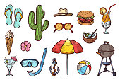 Summer objects hand drawn colorful sketch set. Food, cocktails ,beach accessories, flower, cactus. Summer doodle vector illustration. Vacation design elements. Eps 10