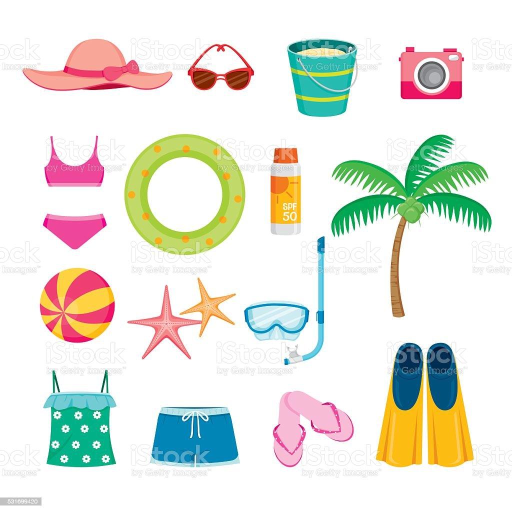 Sommer-Objekte Symbole Satz – Vektorgrafik