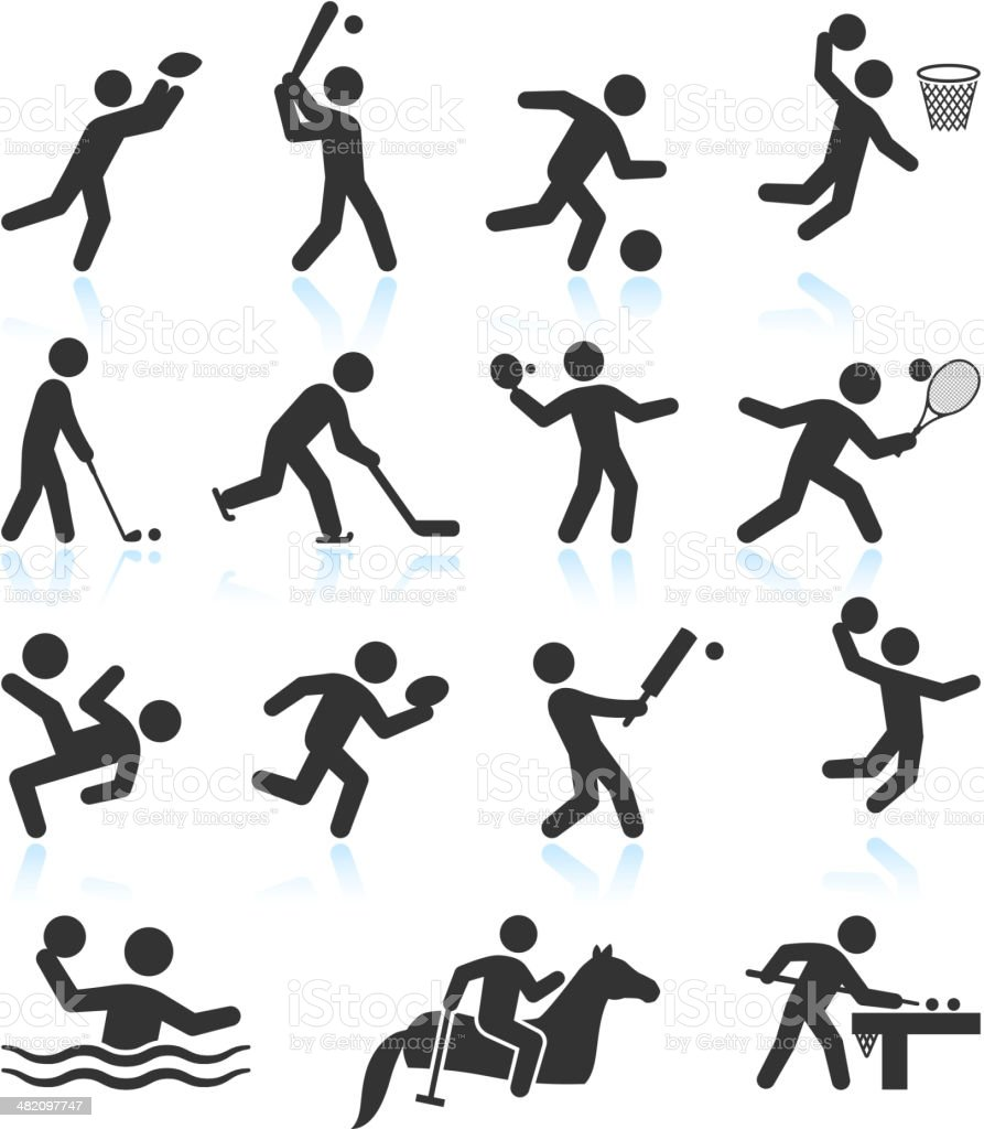 Summer Olympics Sports black & white vector icon set royalty-free stock vector art