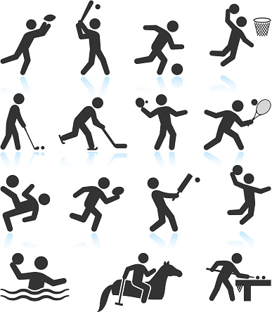 Summer Olympics Sports black & white vector icon set