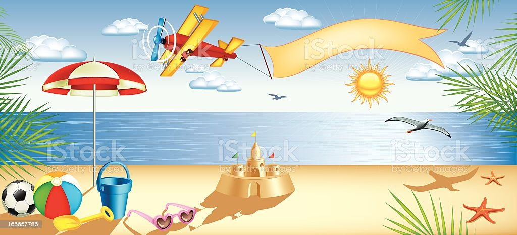 Summer on the beach royalty-free summer on the beach stock vector art & more images of airplane