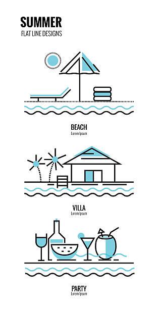 Summer on the beach. flat thin line design. vector illustration villa stock illustrations