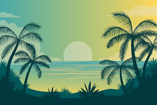 Summer On Tropical Island line vector