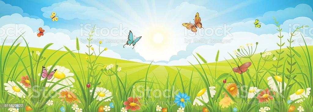 Summer or spring landscape vector art illustration