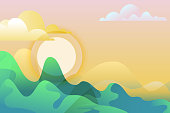 Abstract summer or spring landscape, vector hand drawn illustration. Green mountains and sun on sky. Nature horizontal background with copy space.
