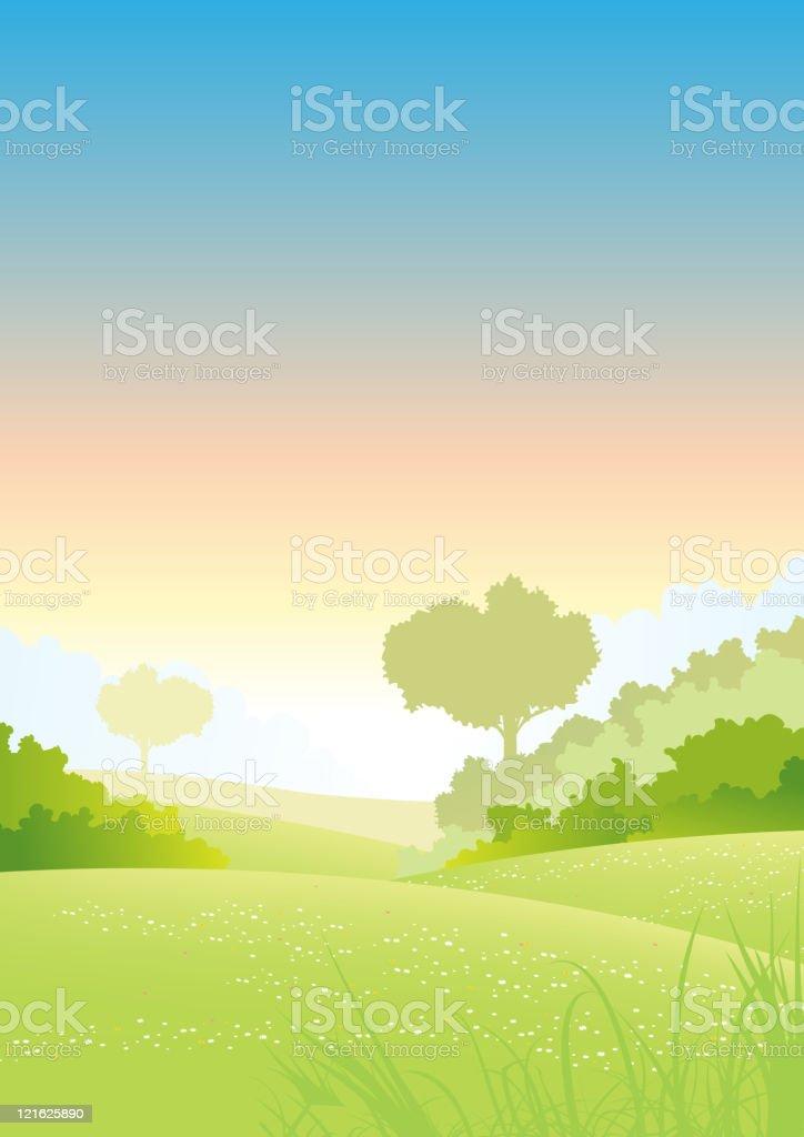 Summer or Spring morning pastel background poster vector art illustration