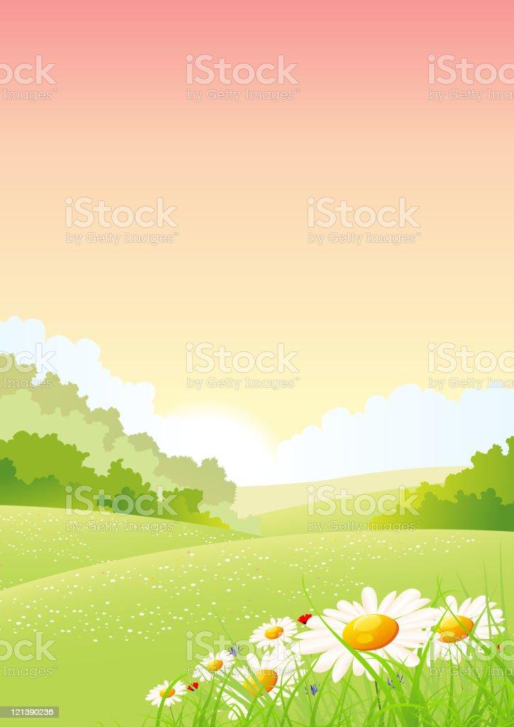 Summer Or Spring Morning Seasons Poster vector art illustration