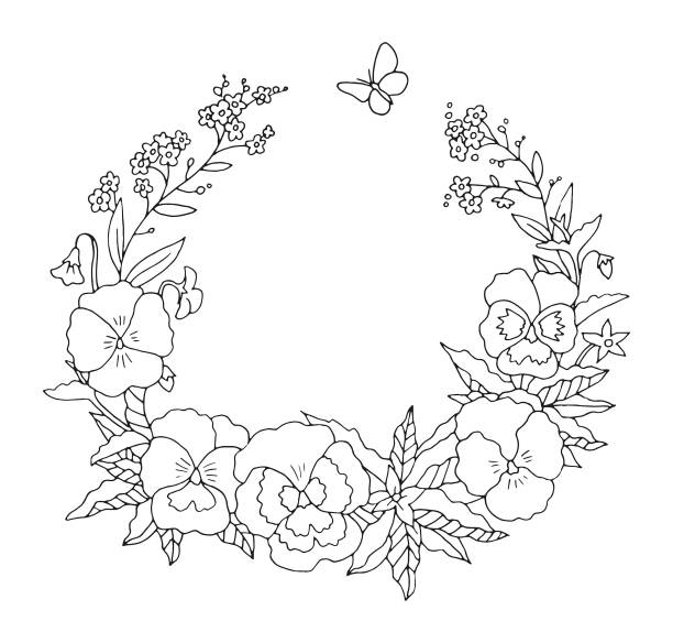 Summer or spring pansies floral nostalgic elegant romantic old fashioned wreath contour coloring page vector art illustration