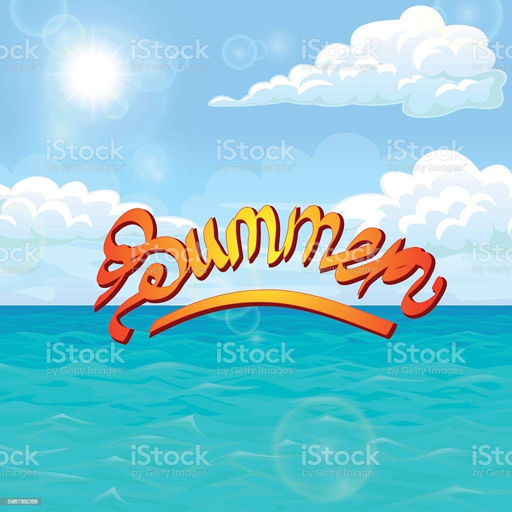 Summer orange red on sea landscape векторная иллюстрация