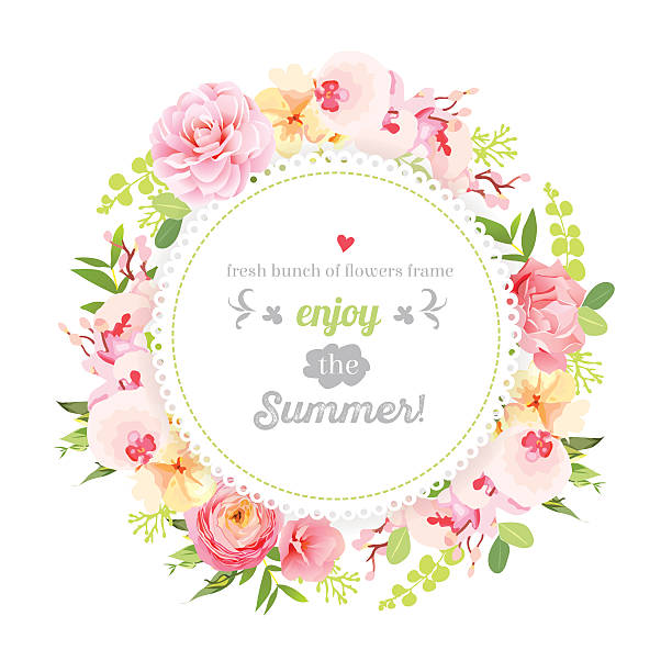 Summer orchid, camellia, rose, ranunculus, carnation round vector frame Summer orchid, camellia, rose, ranunculus, carnation and fresh green leaves round vector frame. Save the date wedding template. Design set. All elements are isolated and editable. shabby chic stock illustrations