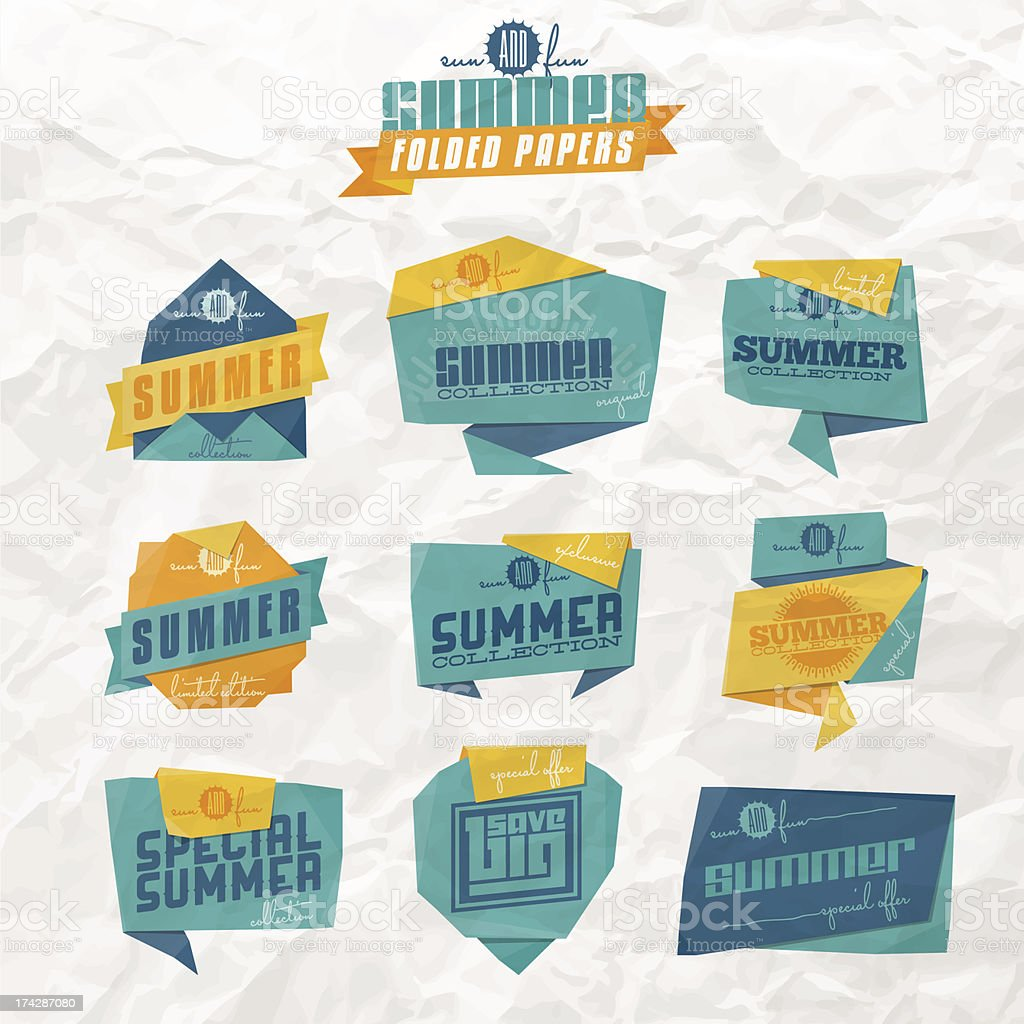 Summer origami labels royalty-free stock vector art