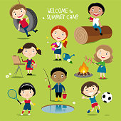 Summer outdoor activities for boys and girls: playing, painting, sports, camping, gardening, fishing.