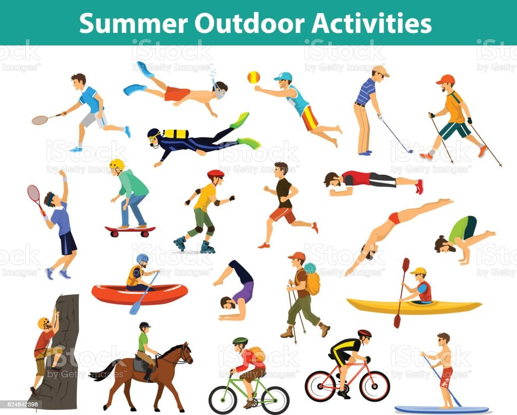 Summer outdoor, beach, sports and activities. Man do yoga, running, cycling, traveling with mountain bike and backpack, paddling, kayaking, climbing, rafting, hiking, playing tennis, golf and badminton, snorkeling, scuba diving swimming vector art illustration
