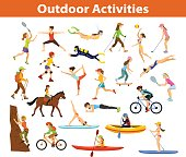 Summer Outdoor, beach sports and activities. Woman do yoga, running, cycling, traveling with mountain bike and backpack, paddling, kayaking, climbing, rafting, hiking, playing tennis, golf and badminton, snorkeling, scuba diving swimming