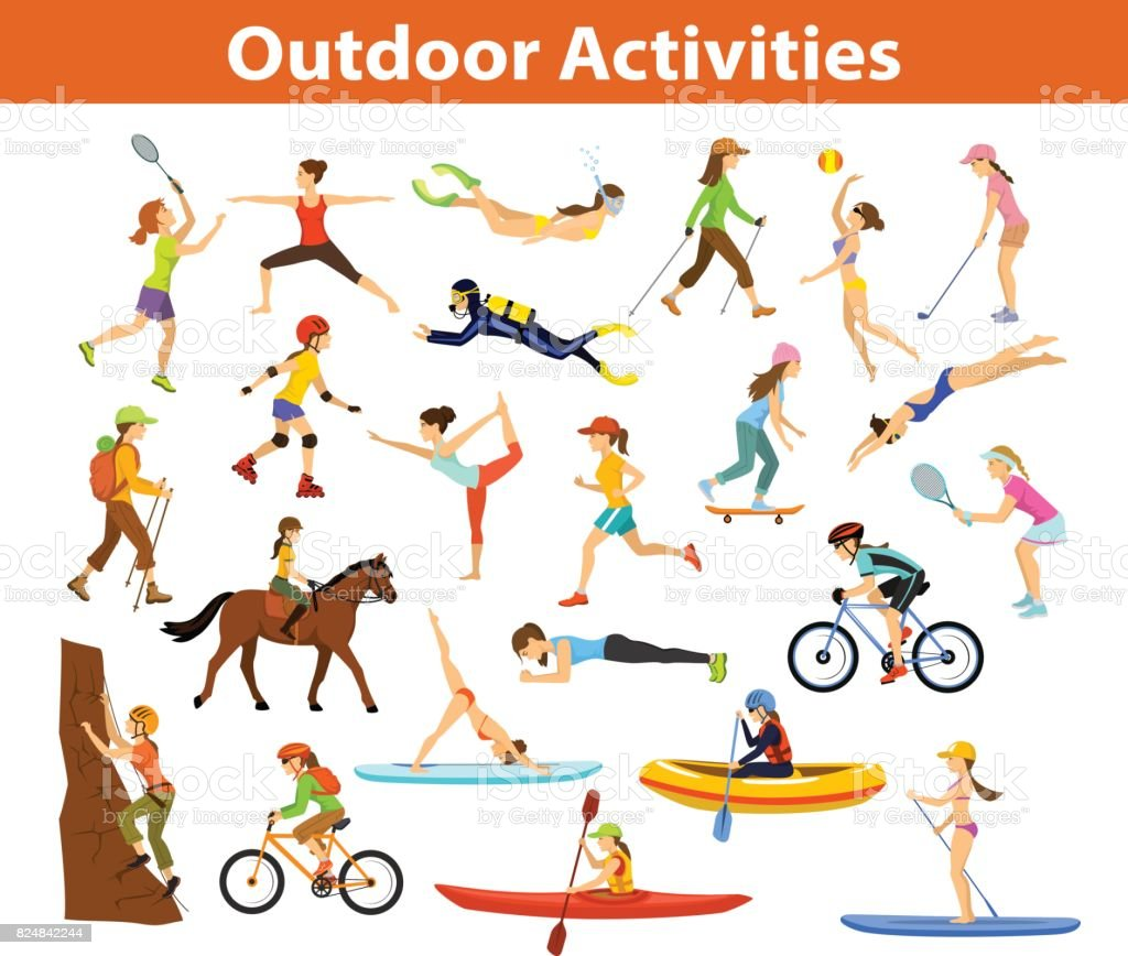 Summer Outdoor, beach sports and activities. Woman do yoga, running, cycling, traveling with mountain bike and backpack, paddling, kayaking, climbing, rafting, hiking, playing tennis, golf and badminton, snorkeling, scuba diving swimming vector art illustration