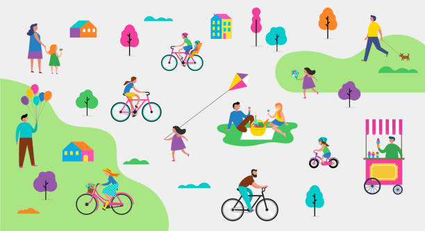 Summer outdoor scene with active family vacation, park activities illustration with kids, couples and families. vector art illustration