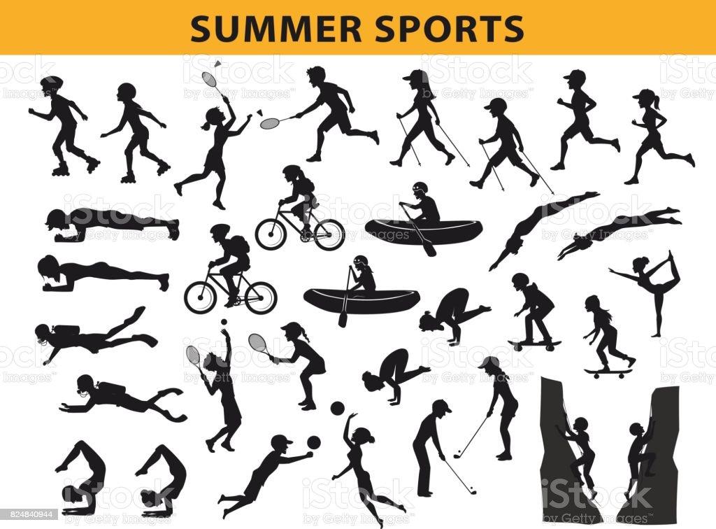 ete, outdoor sports collection silhouette, homme femme course, marche nordique, le patinage à roulettes, nager, faire du yoga, escalade - Illustration vectorielle