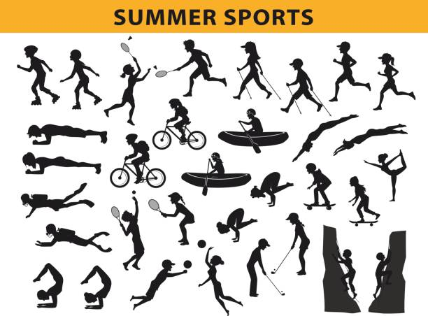 summer, outdoor sports silhouette collection, man  woman run, nordic walking, roller skating, swim, do yoga, climbing vector art illustration