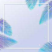 Summer palm square leaf frame.