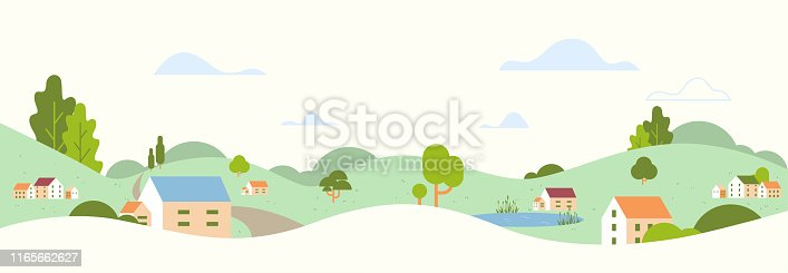 summer panoramic beautiful rural landscape with village houses and hills countryside background flat horizontal vector illustration