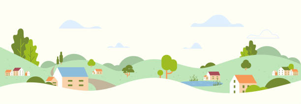 summer panoramic beautiful rural landscape with village houses and hills countryside background flat horizontal summer panoramic beautiful rural landscape with village houses and hills countryside background flat horizontal vector illustration village stock illustrations