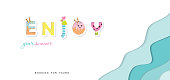 Summer paper cut out banner. 3d waves layers background. Funny cartoon letters. Vector illustration