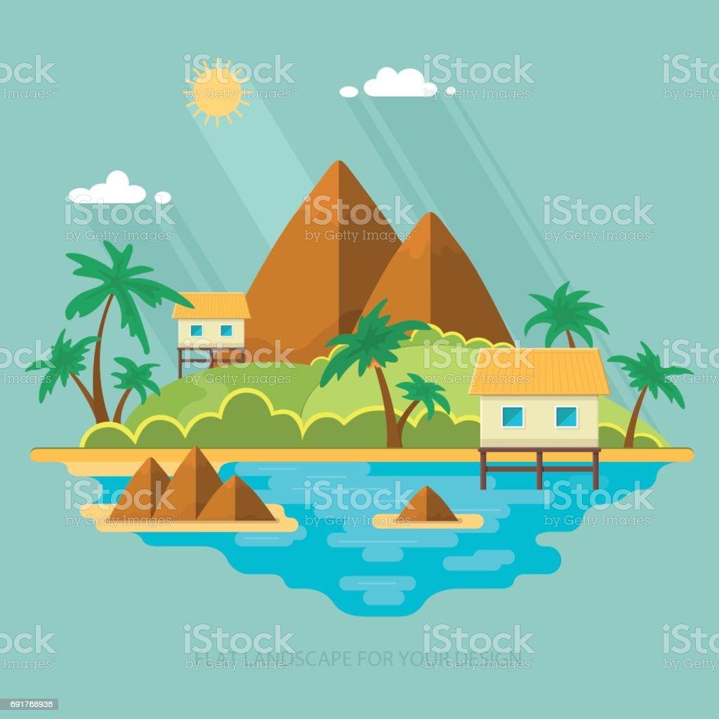 Ilustración de Paisaje De Verano Paraíso Al Mar Una Hermosa Isla Con ...