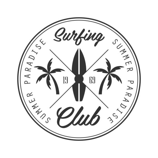 Summer paradise surfing club icon template, black and white vector Illustration vector art illustration