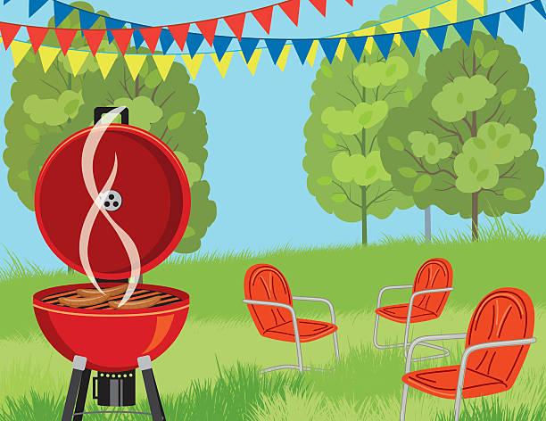 sommer park grill-hintergrund - grill zubereitung stock-grafiken, -clipart, -cartoons und -symbole