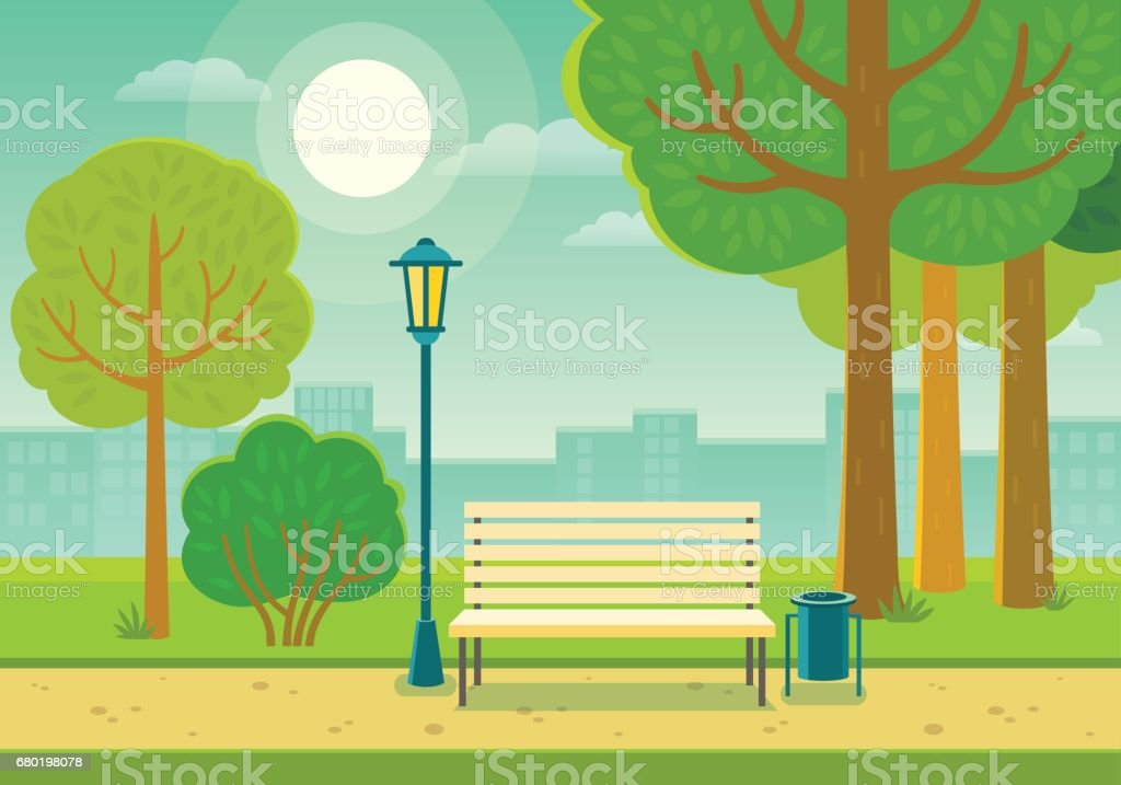 Summer park vector art illustration