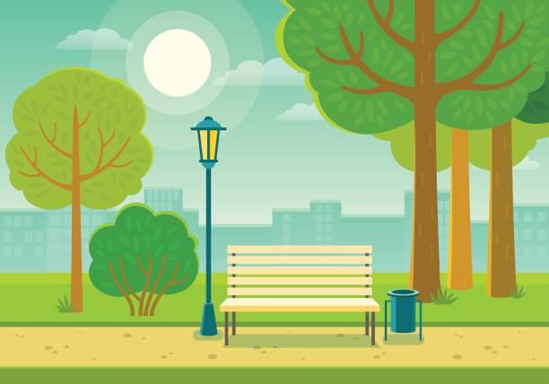 bildbanksillustrationer, clip art samt tecknat material och ikoner med sommaren park - naturparksområde