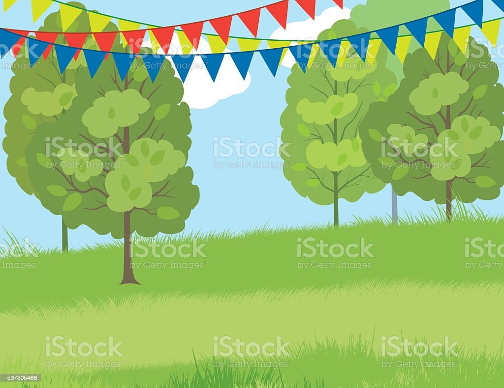 Summer Park With Grassy Hill And Bunting Flags vector art illustration