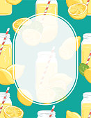 Summer Party Background Template With lemons and Oranges