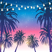 Summer party background with palm trees silhouettes and a garland of light bulbs on sunset sky