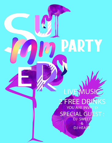 Summer party banner with abstract letters, flaminfos and pineapple. Vector illustration