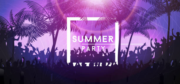 stockillustraties, clipart, cartoons en iconen met zomer partij banner met menigte ontwerp - strandfeest