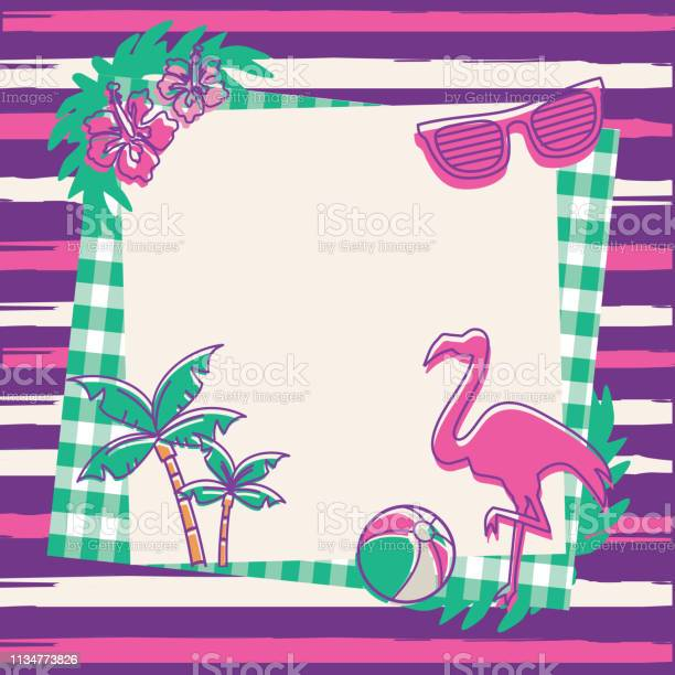 Summer party blank invitation design template Vector illustration of a Summer party invitation design template. Includes bright retro colors, flamingo, palm trees and flowers. Sample text provided. Fully editable. EPS 10.Vector illustration of a Summer party invitation design template. Includes bright retro colors, flamingo, palm trees and flowers. Copy space provided. Fully editable. EPS 10. Barbecue - Meal stock vector