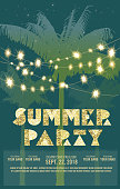 Summer party celebration invitation design template with palm trees. Glitter text with string lights. Bright pastels and gradients. Placement sample text included.