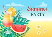 Summer party cocktail party vector. Watermelon slice, lush fruit with seeds, flowers with tropical plants leaves and branches. Sky with clouds above